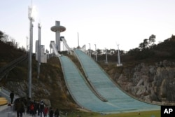 In this Monday, Oct. 30, 2017, photo, the Alpensia Ski Jumping Centre is being prepared in Pyeongchang, South Korea.