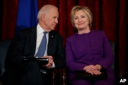 Vice President Joe Biden and former Secretary of State Hillary Clinton at the U.S. Capitol last week.