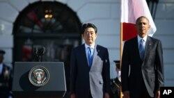 استقبال رسمی باراک اوباما رئیس جمهوری آمریکا از شینزو آبه نخست وزیر ژاپن در کاخ سفید - ۲۸ آوریل ۲۰۱۵