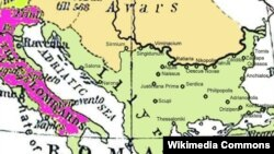 Historical map of the Balkans around 582 - 612 AD