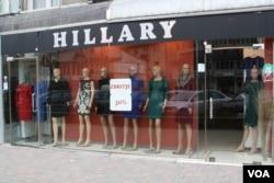 The Hillary Boutique on Bill Clinton Boulevard in Pristina, Kosovo, Jan. 9, 2016. (P.W. Wellman/VOA)