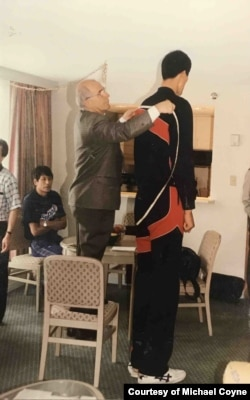 North Korean basketball player Ri Myoung-Hun being measured at a training camp in Ottawa, Canada. (Courtesy of Michael Coyne)