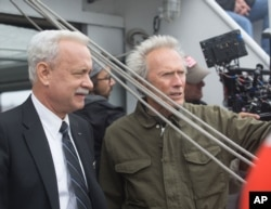 "Clint Eastwood and Tom Hanks on the set of ""Sully"" - 2016"