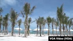 """中國優聯集團在柬埔寨國公省七星海打造大型海濱度假村,不過有當地民眾稱該公司""""非法侵佔柬埔寨土地所有者的使用權""""。"""