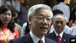 FILE - Vietnam's Communist Party General Secretary Nguyen Phu Trong. When the plants were approved in 2009, the government had projected power demand growth of 17-20 percent per year, but new projections are lower.