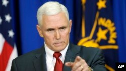 Indiana Gov. Mike Pence takes a question during a news conference in Indianapolis, March 31, 2015.