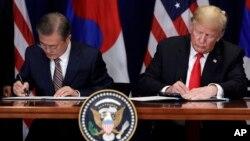 도널드 트럼프 미국 대통령과 문재인 한국 대통령이 24일 뉴욕 롯데뉴욕팰리스 호텔에서 열린 미한 자유무역협정(FTA) 서명식에서 협정문에 서명하고 있다.