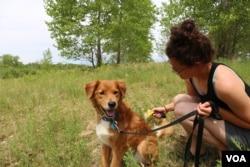 Brittney Johnson got her dog Mumford shortly after buying her Minnesota farm. (E.Sarai/VOA)