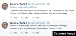 제임스 코미 전 연방수사국(FBI) 국장을 백악관에서 단둘이 만나 나눈 대화를 녹음하지 않았으며, 녹음 테이프도 가지고 있지 않다고 밝힌 도널드 트럼프 대통령의 22일 트위터 메시지.