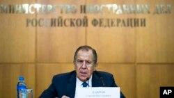 세르게이 라브로프 러시아 외무장관이 26일 모스크바에서 연례 기자회견을 하고 있다.