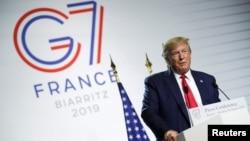 美國總統唐納德·特朗普在七國集團會議。