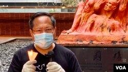 支聯會副主席何俊仁9月9日在法庭陳詞表示,人類歷史上,從未試過有一個集會,好像六四燭光集會一樣,可連續30年就同一主題在每年同一晚舉行,而支聯會持續30年舉辦六四燭光集會,是因為道德責任及香港人願意擔起的良心責任 (美國之音湯惠芸)