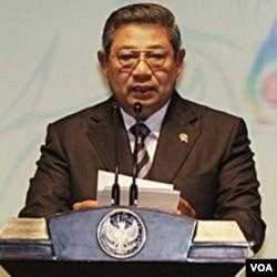Presiden SBY berpidato dalam acara pembukaan pertemuan para menlu ASEAN di Nusa Dua Bali (19/07).
