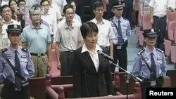Bà Cốc Khai Lai trong phòng xử án tại Tòa án Nhân dân thành phố Hợp Phì ở miền đông Trung Quốc, ngày 9/8/2012