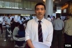 台灣淡江大學產業經濟系應屆畢業生吳同學表示,參加徵才會對求職很有幫助。(美國之音湯惠芸)