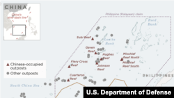 美國國防部報告公佈的斯普拉特利群島示意圖顯示中國已佔領多個島礁(美國國防部網站)