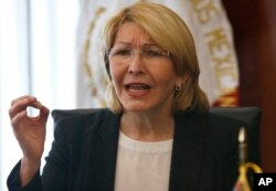 FILE - Ousted Venezuelan chief prosecutor Luisa Ortega Diaz, shown in September in Mexico City, says she has evidence of human rights abuses by Venezuela's government.