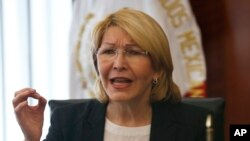 Venezuela's ousted Chief Prosecutor Luisa Ortega Diaz, seen in this Sept. 2017 photo, speaks to senators at the Senate chambers in Mexico City.