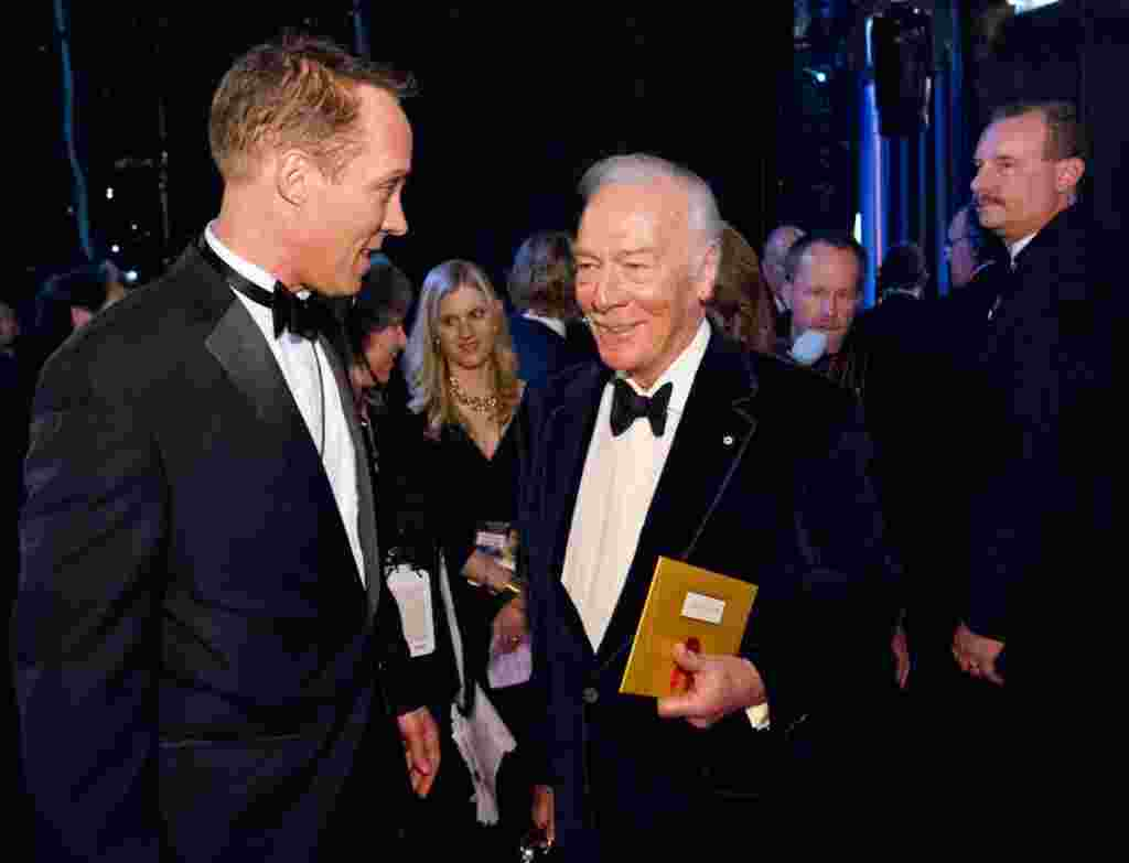 """Christopher Plummer, winner of the Best Supporting Actor award for his role in """"Beginners,"""" backstage during Academy Awards, Feb. 26, 2012."""