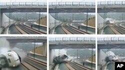 24일 스페인 산티아고 데 콤포스텔라시에서 기차가 탈선하는 모습이 찍힌 감시 카메라 영상의 캡쳐 사진. (왼쪽 위부터 시계방향으로)