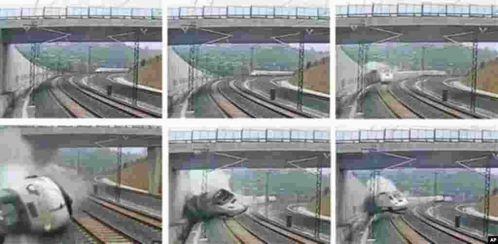 La composición de imágenes muestra el momento del accidente en Santiago de Compostela, España.