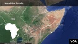 Map of Somalia highlighting Mogadishu.