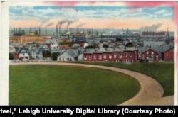 View of Bethlehem Steel plant from Lehigh University, Bethlehem, Pennsylvania, possibly 1929.