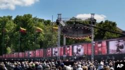 立陶宛民眾在維爾紐斯舉行蘇聯佔領波羅的海國家大規模驅逐迫害當地民眾暴行80週年的紀念集會。 (2021年6月14日)