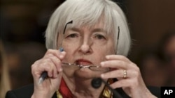 美聯儲主席耶倫星期四在國會參議院一個主要的委員會發表講話