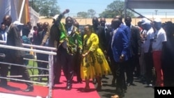 Emmerson Mnangagwa and his wife arriving at White City Stadium, Bulawayo, on Saturday for the Presidential Youth Interface Rally.