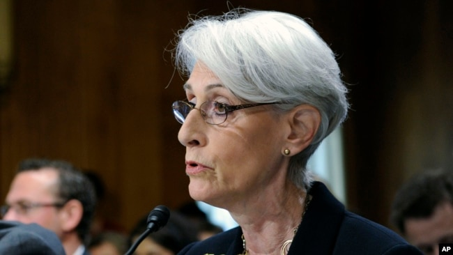 FILE - Then-Undersecretary of State for Political Affairs Wendy Sherman testifies on Capitol Hill in Washington, July 29, 2014.