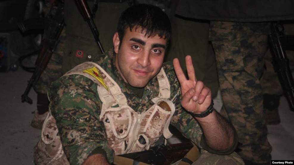 Iranian Amir Qobadi pictured in a YPG uniform in 2014, who died fighting IS militants. (courtesy of YPG Media Center)