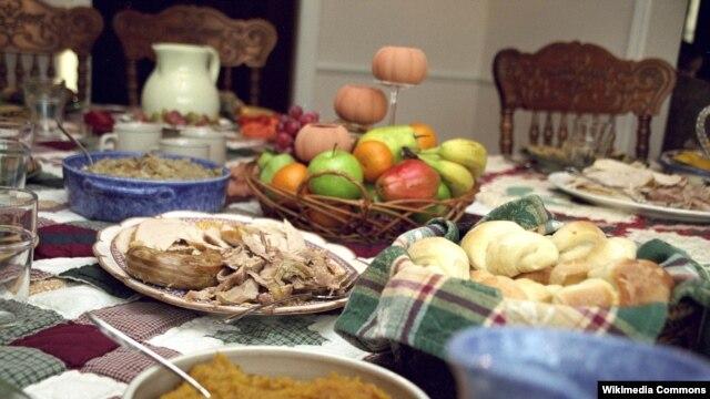 미국 전통 추수감사절 식탁. (자료사진)