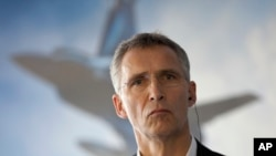 NATO Secretary General Jens Stoltenberg attends a press conference after an alliance military demonstration in Zaragoza, Spain, Nov. 4, 2015.