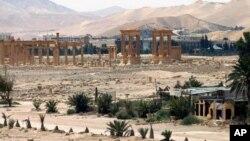 Esta foto de archivo muestra una vista general de la antigua ciudad romana de Palmira, al noreste de Damasco, Siria.