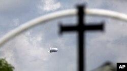 FILE - A surveillance balloon is used near the Texas-Mexico border, in Los Ebanos, Texas, Sept. 16, 2015.