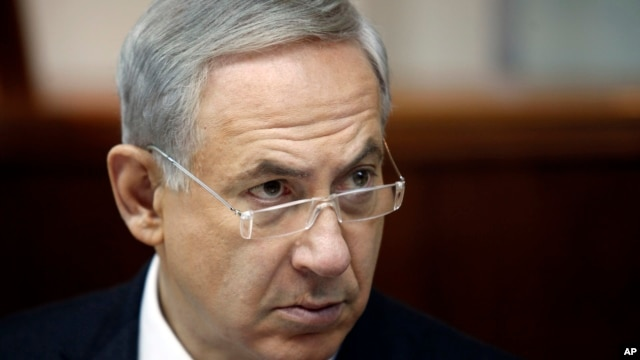 Israeli Prime Minister Benjamin Netanyahu during weekly cabinet meeting, Jerusalem, Aug. 4, 2013.