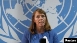 FILE: United Nations Special Rapporteur on Human Rights in Cambodia Rhona Smith speaks during a news conference in Phnom Penh, Cambodia, May 9, 2019. REUTERS/Samrang Pring