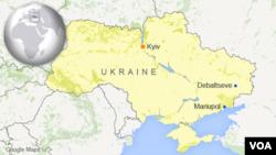 Peta wilayah Ukraina dan letak kota Debaltseve dan Mariupol.