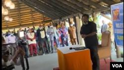 Joseph Kabila, mokonzi ya FCC (Front commun pour le Congo) mpe mokonzi ya mboka ya kala na bokutani na bakeli mibeko na Kingakati, Kinshasa, 29 octobre 2020.