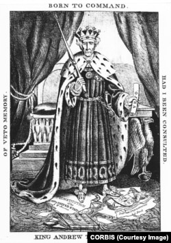 """King Andrew Jackson"" political cartoon"