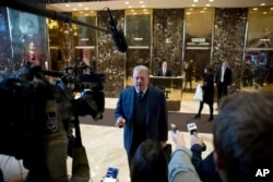 Former Vice President Al Gore speaks to members of the media after meeting with Ivanka Trump and President-elect Donald Trump at Trump Tower in New York, Dec. 5, 2016.
