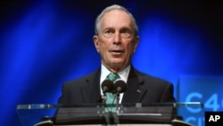FILE - Former New York Mayor Michael Bloomberg speaks during the C40 cities awards ceremony, in Paris, Dec. 3, 2015.