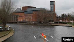 FILE - The Royal Shakespeare Company's theatre complex is seen in Stratford-upon-Avon, Britain, March 22, 2019. (REUTERS/Peter Nicholls/File Photo)