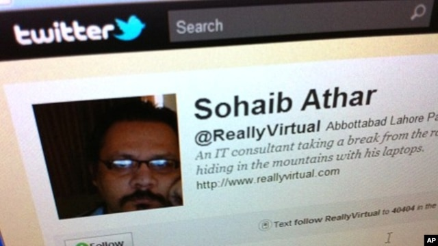 Twitter page of Sohaib Athar. In the early hours of Monday, Athar reported on his Twitter account that a loud bang had rattled his windows in the Pakistani town of Abbottabad.