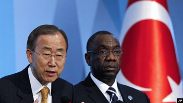 United Nations (U.N.) Secretary-General Ban Ki-moon (L), and Secretary-General of the conference Cheick Sidi Diarra, attend a news conference during the 4th U.N. Conference on the Least Developed Countries in Istanbul, May 9, 2011