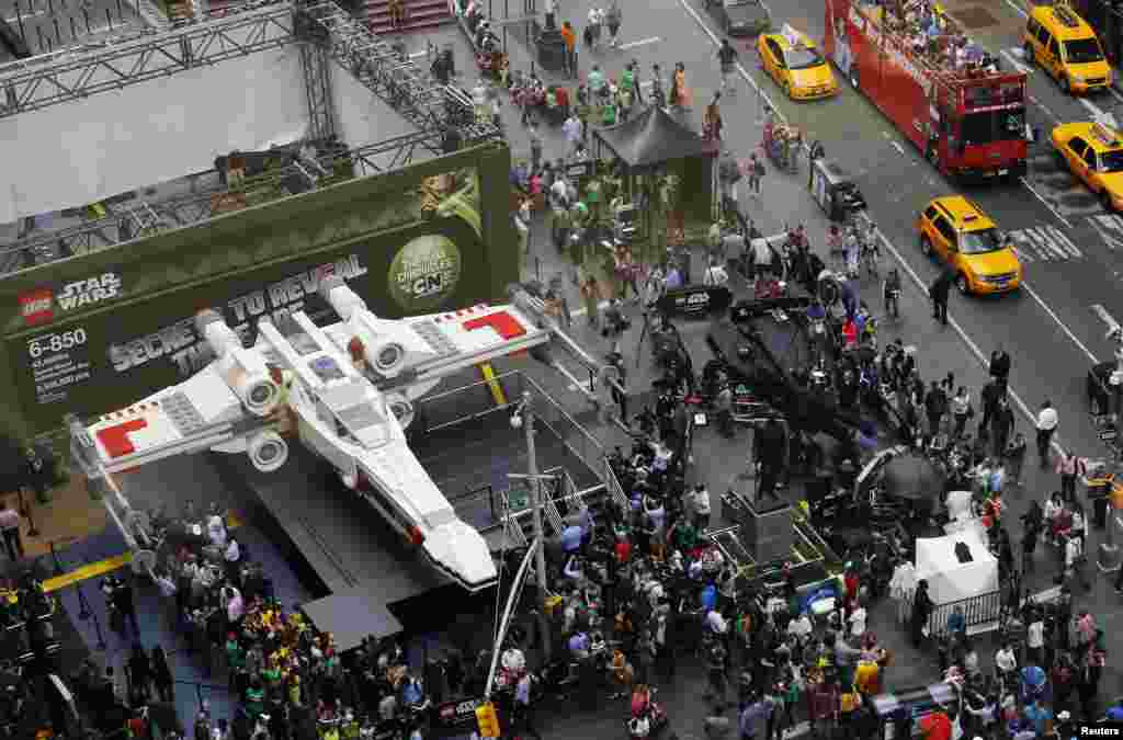The world's largest Lego modeled after the Star Wars X-wing starfighter at Times Square after being unveiled in New York