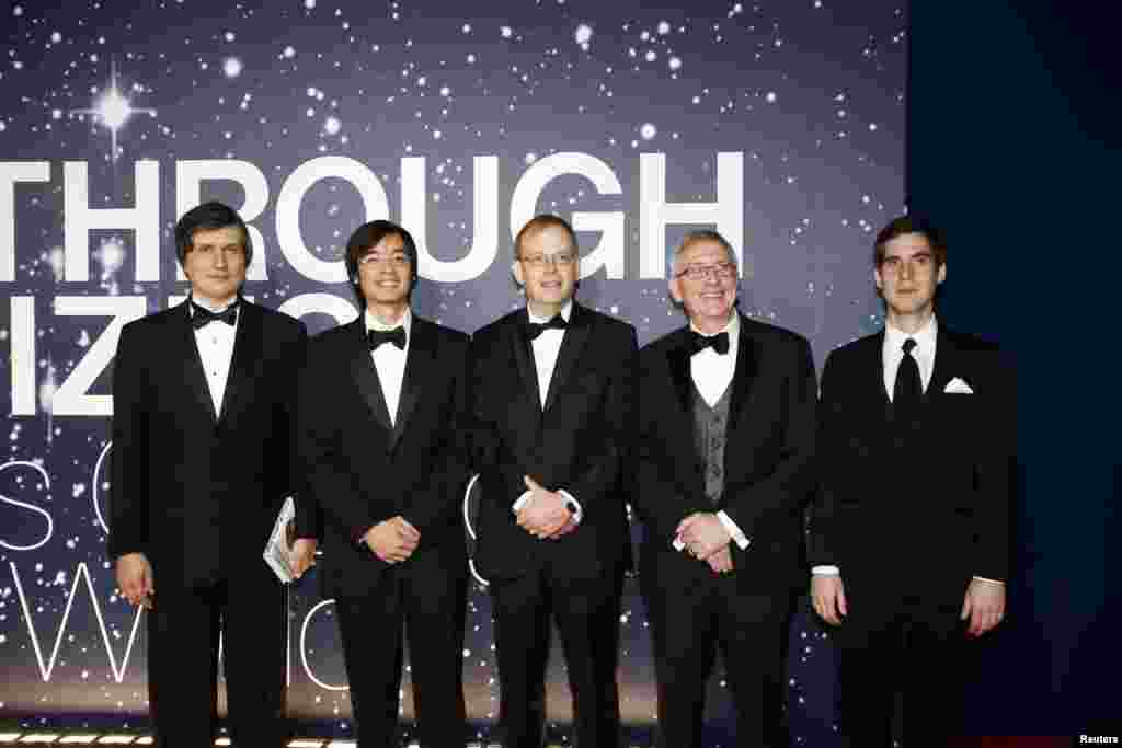 From left, Mathematics laureates Maxim Kontsevich, Terence Tao, Richard Taylor, Simon Donaldson and Jacob Lurie arrive on the red carpet during the second annual Breakthrough Prize Awards in Mountain View, California, Nov.