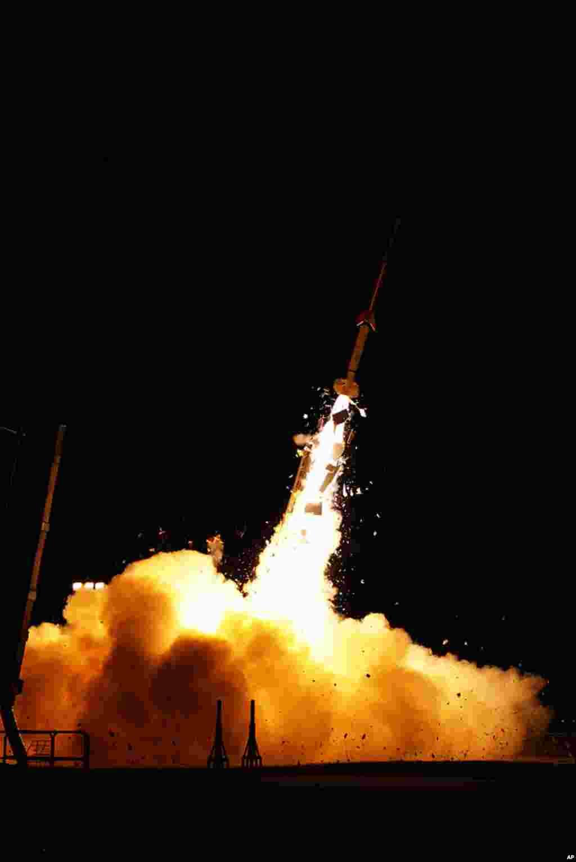 One of the five rockets NASA launched from the Wallops Flight Facility. (NASA/Wallops)