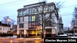 The Internet Research Agency building, dubbed the Russian troll factory, is seen at Savushkina Street in St. Petersburg, Russia. The building is now for rent.
